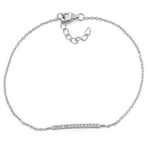Jewelry - Sterling Silver Bar Clear CZ Bracelet